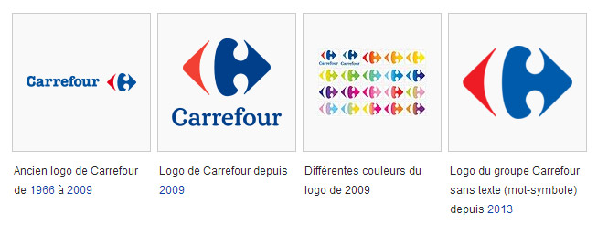 Evolution du logo Carrefour