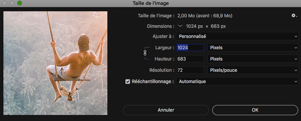 Changer taille image Photoshop
