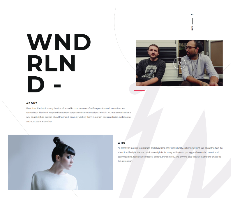 site one-page agence WNDRLND