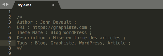 Informations feuille CSS