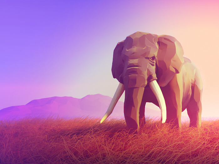 Elephant low poly art