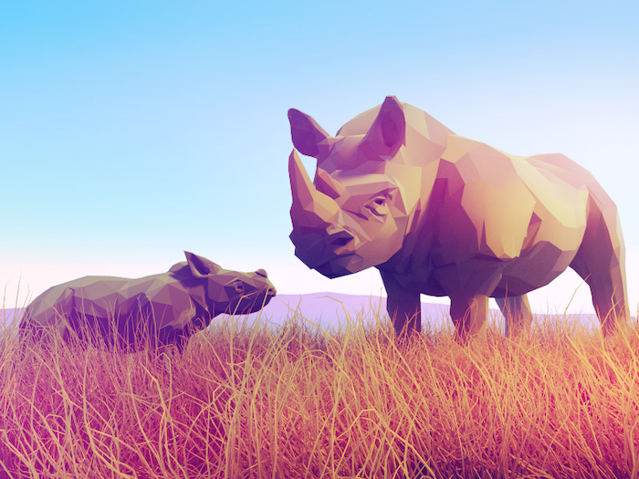 Rhinocéros low poly art