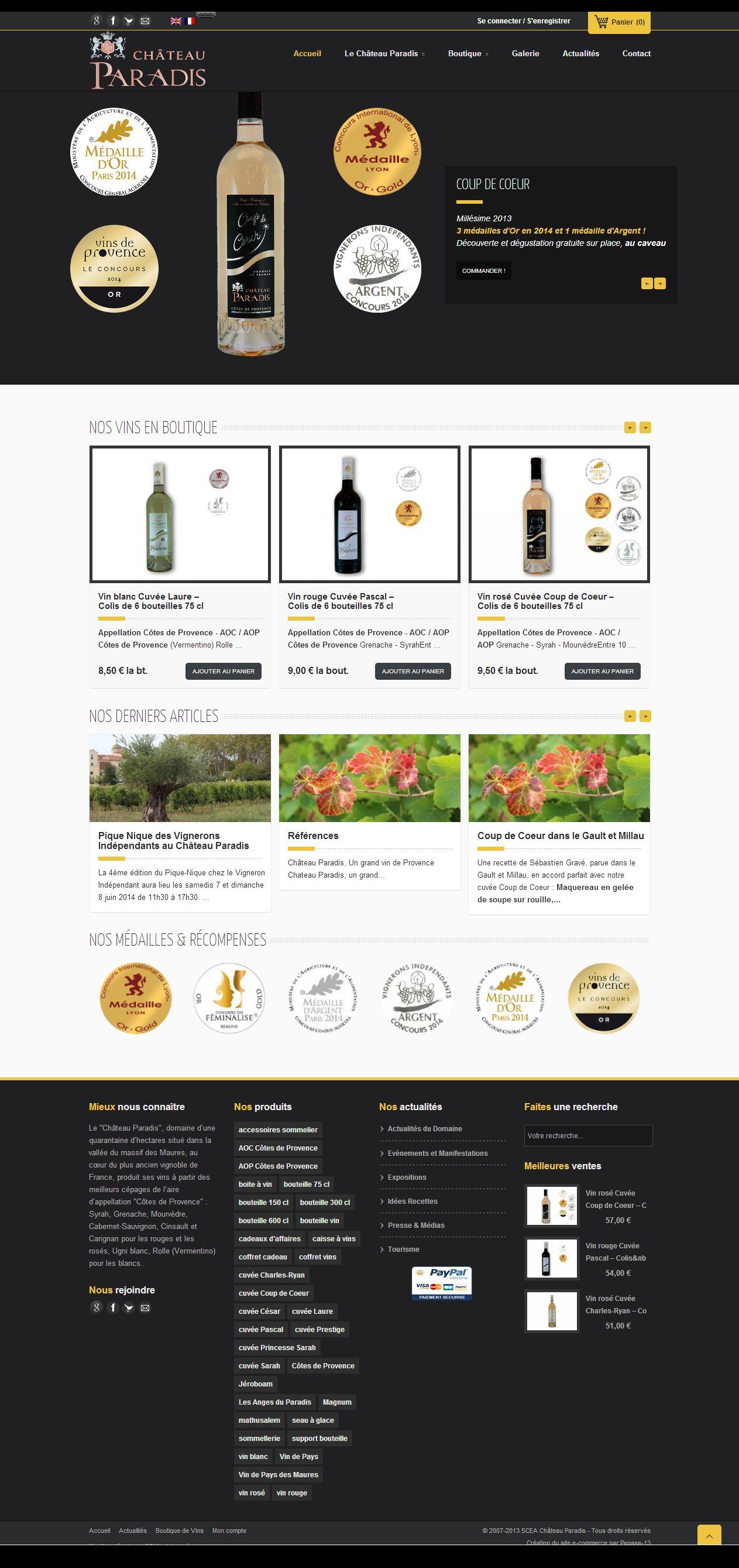 Site internet Vigneron, e-commerce