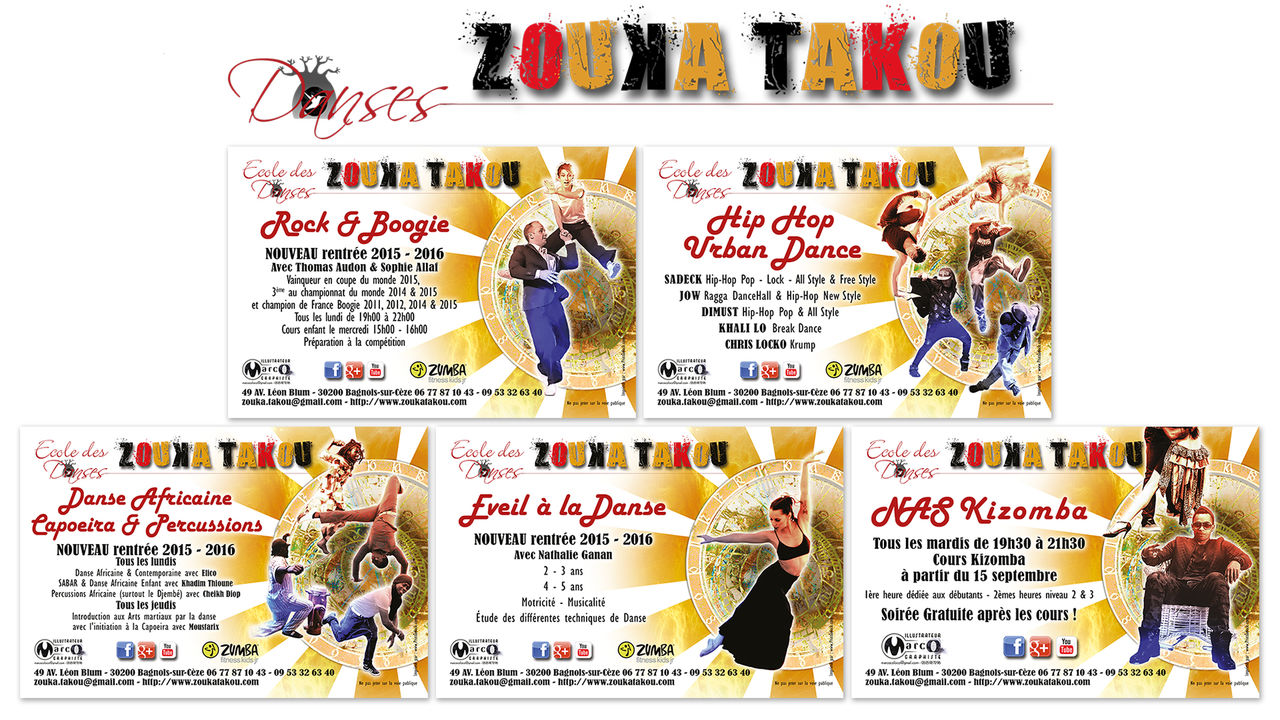 Flyers Ecole des Dances ZOUKA TAKOU