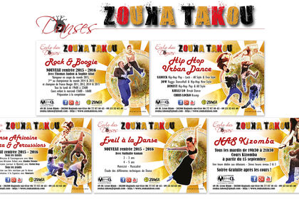 Flyers Ecole des Dances ZOUKA TAKOU