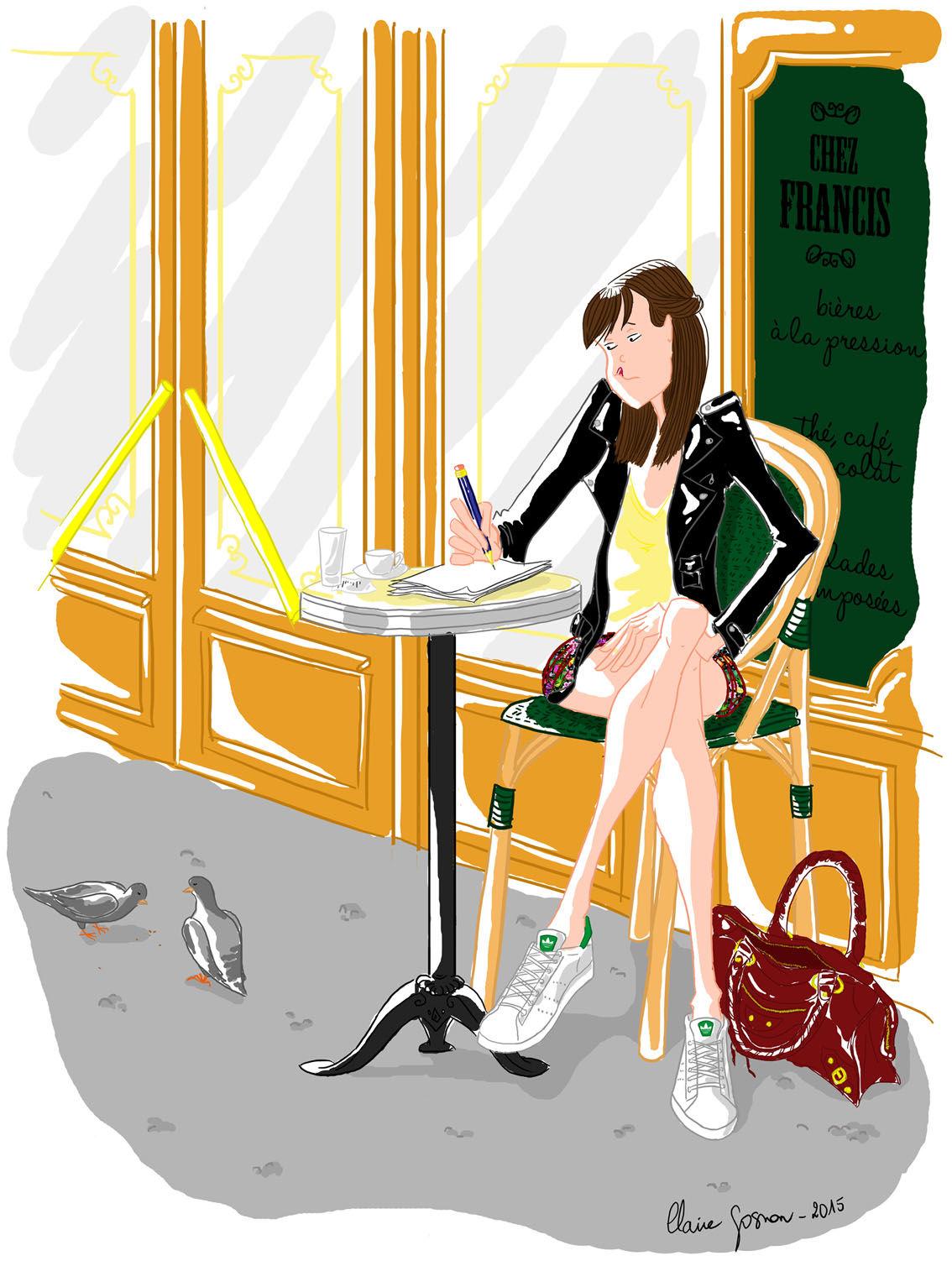 Illustration d'une femme qui dessine à une terrass