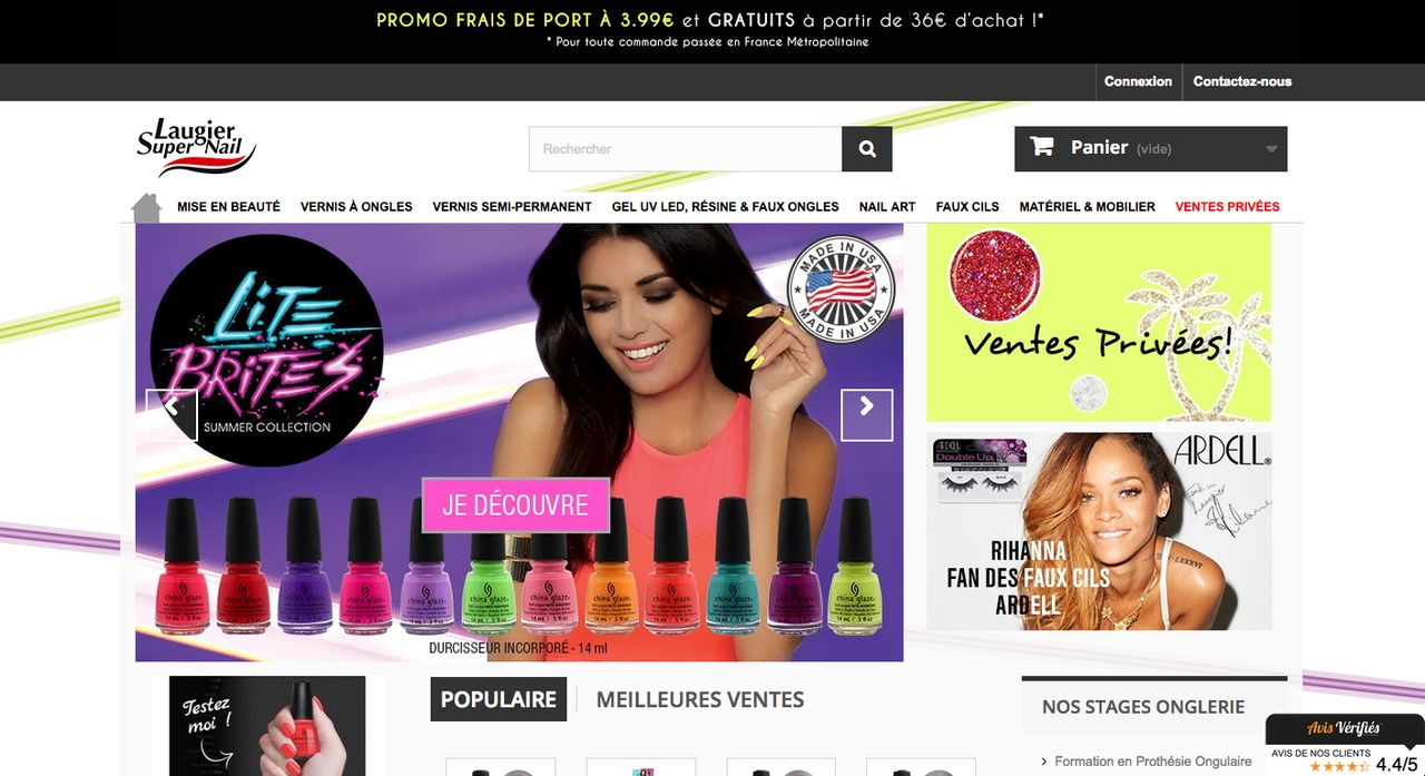 Page d'accueil site e-commerce