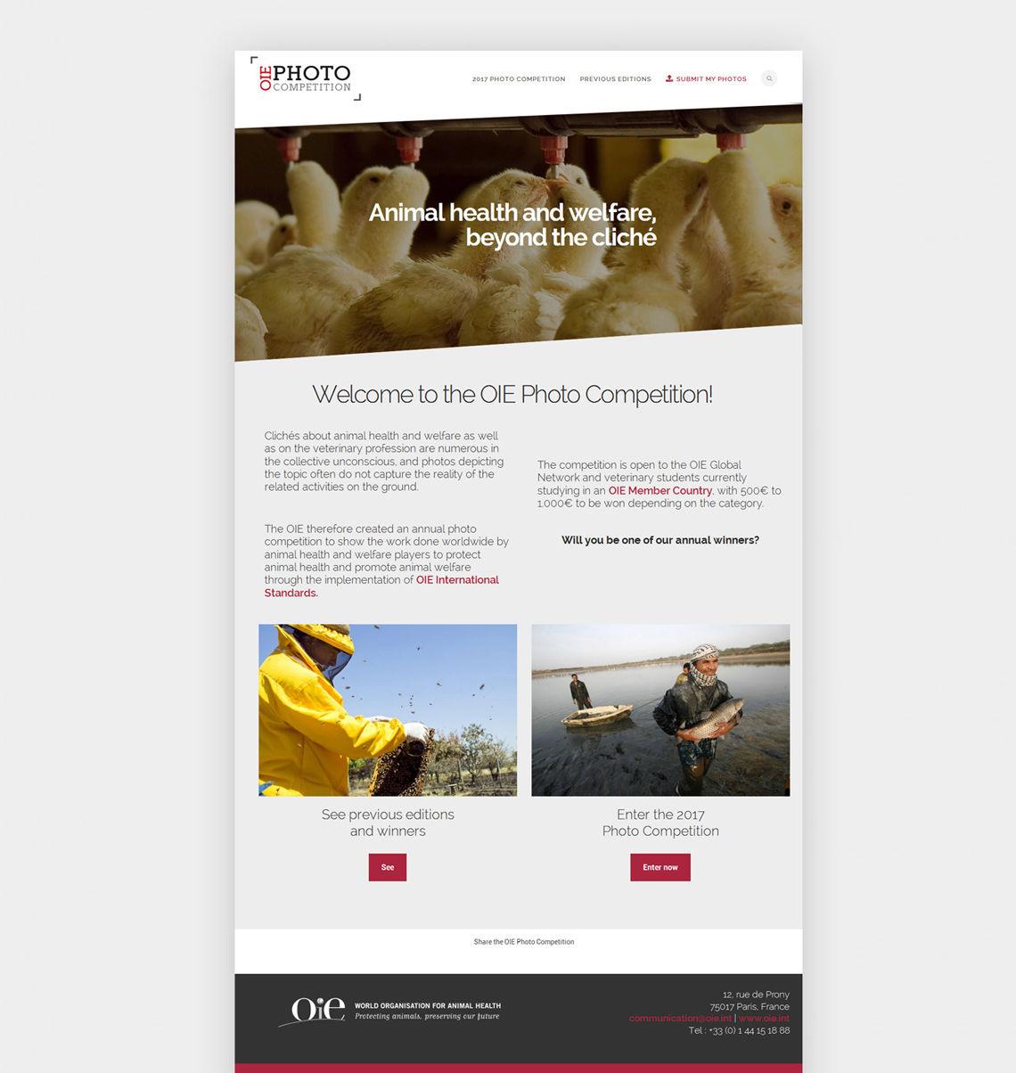 Conception et développement site OIE Photos