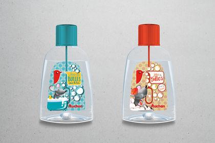 Packaging bain moussant, grande distribution