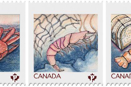 Série de timbre  thème-Les fruits de mers