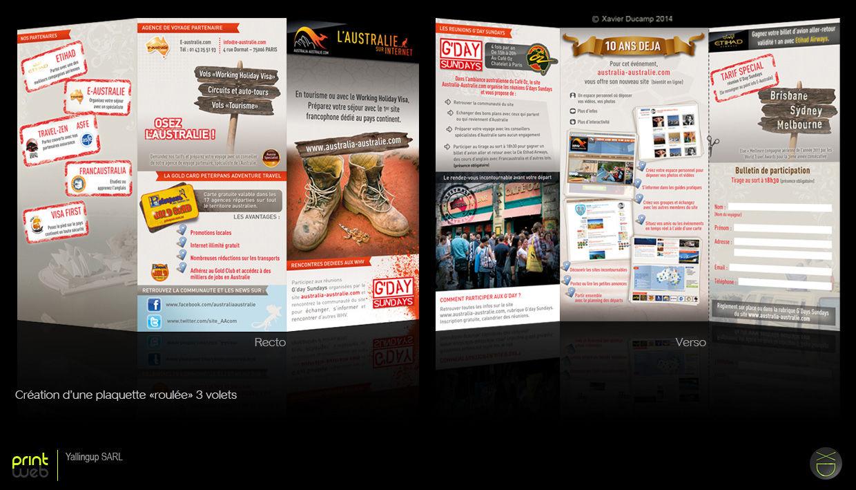 Dépliant 3 volets annonceur en tourisme Australie