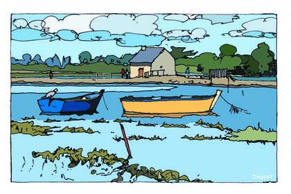 Barque sur retenue d'eau île d'Art