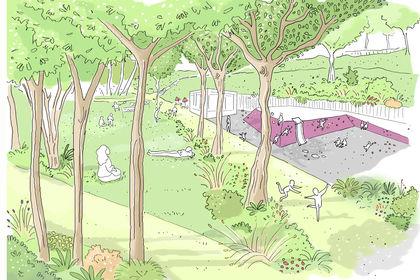 Illustration parc de Bécon, Courbevoie