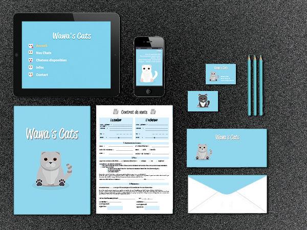 Identité visuelle chatterie Wawa's Cats