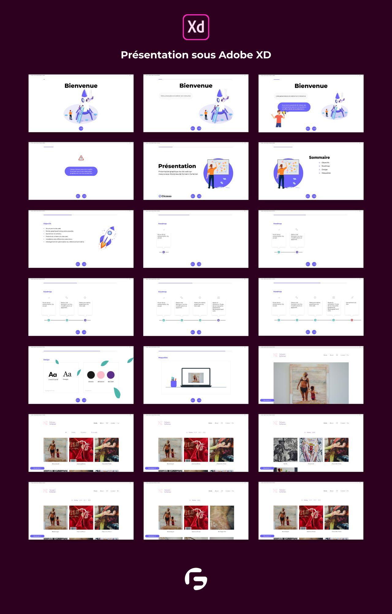 Présentation Site Web sous Adobe XD