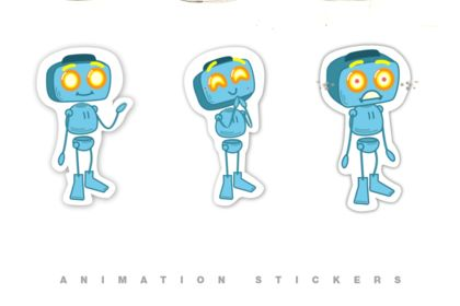 Stickers animés de robot