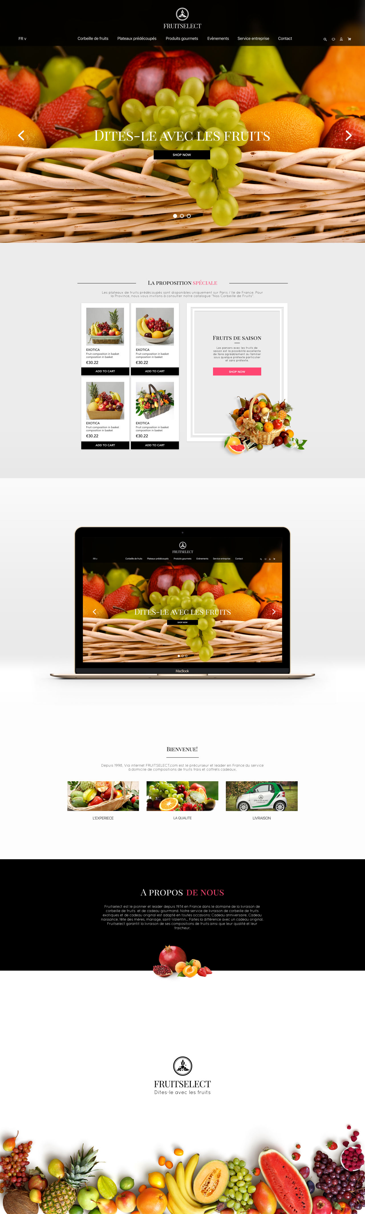 Le concept du site pour FRUITSELECT