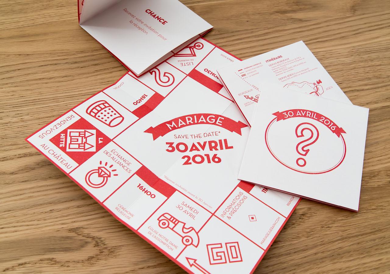 Carton d'invitation mariage (Thème Monopoly)