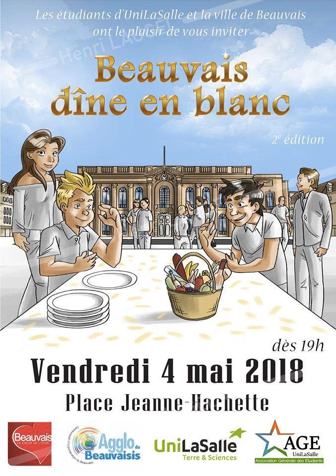 Affiche Beauvais Dîne en blanc