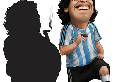 Caricature Maradona pour couverture Time Out Dubai
