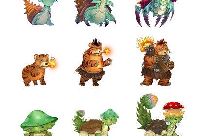 Monstres avec évolutions - Style cartoon anime