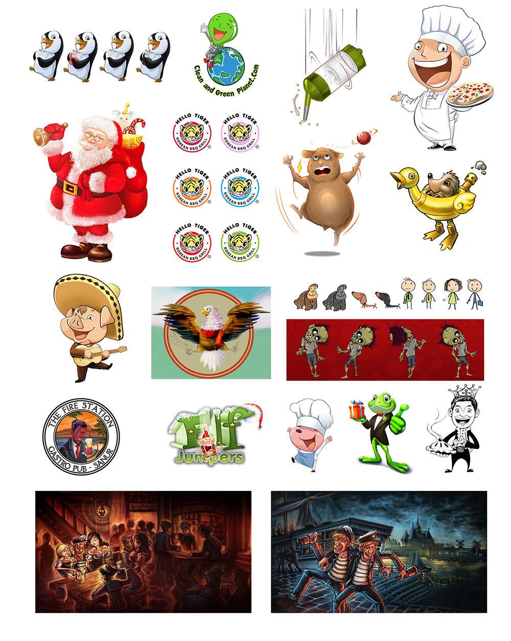 Mascottes, logos, cartoons