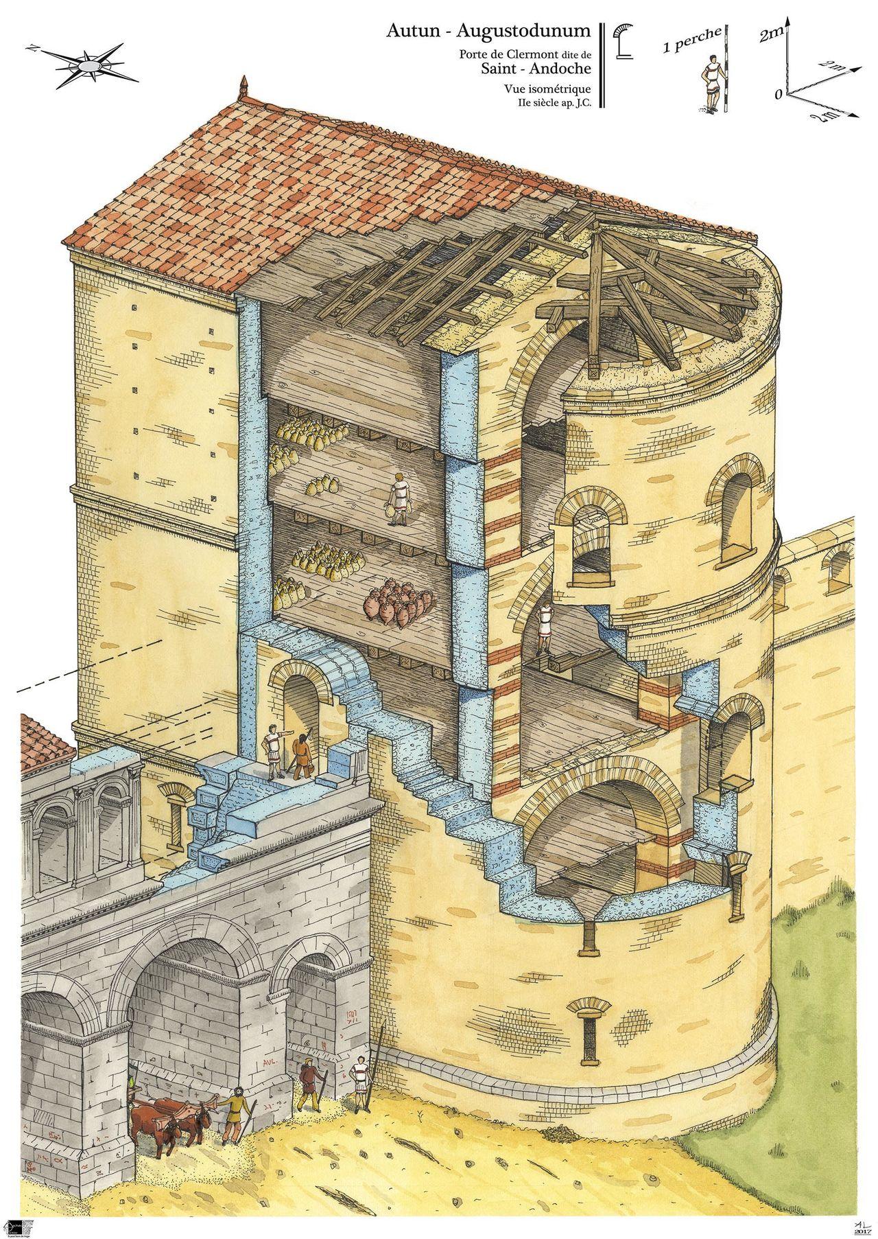 La tour sud de la porte Saint-Andoche à Autun