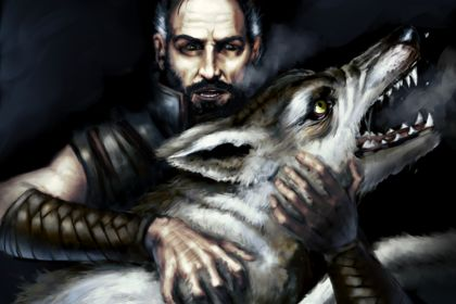Man with the wolf
