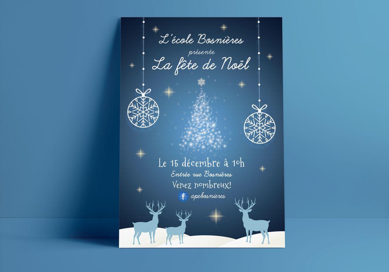 Affiche de fête de Noël pour une école