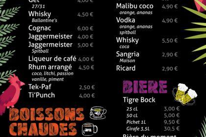Carte des boissons bar à cocktails