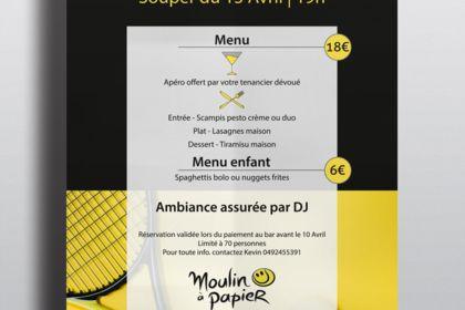 Affiche soirée Bar club de Tennis