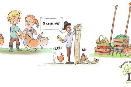 Illustrations pour une ferme pédagogique