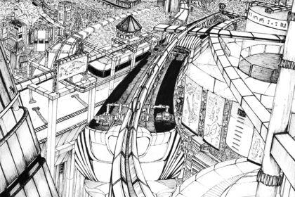 Illustration paysage originale - Ville futuriste