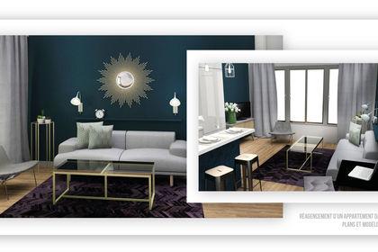 Plan & 3D d'un appartement parisien