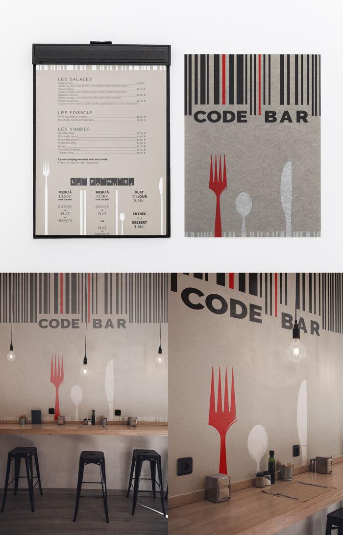 Identité visuelle brasserie : logo, menu, décors