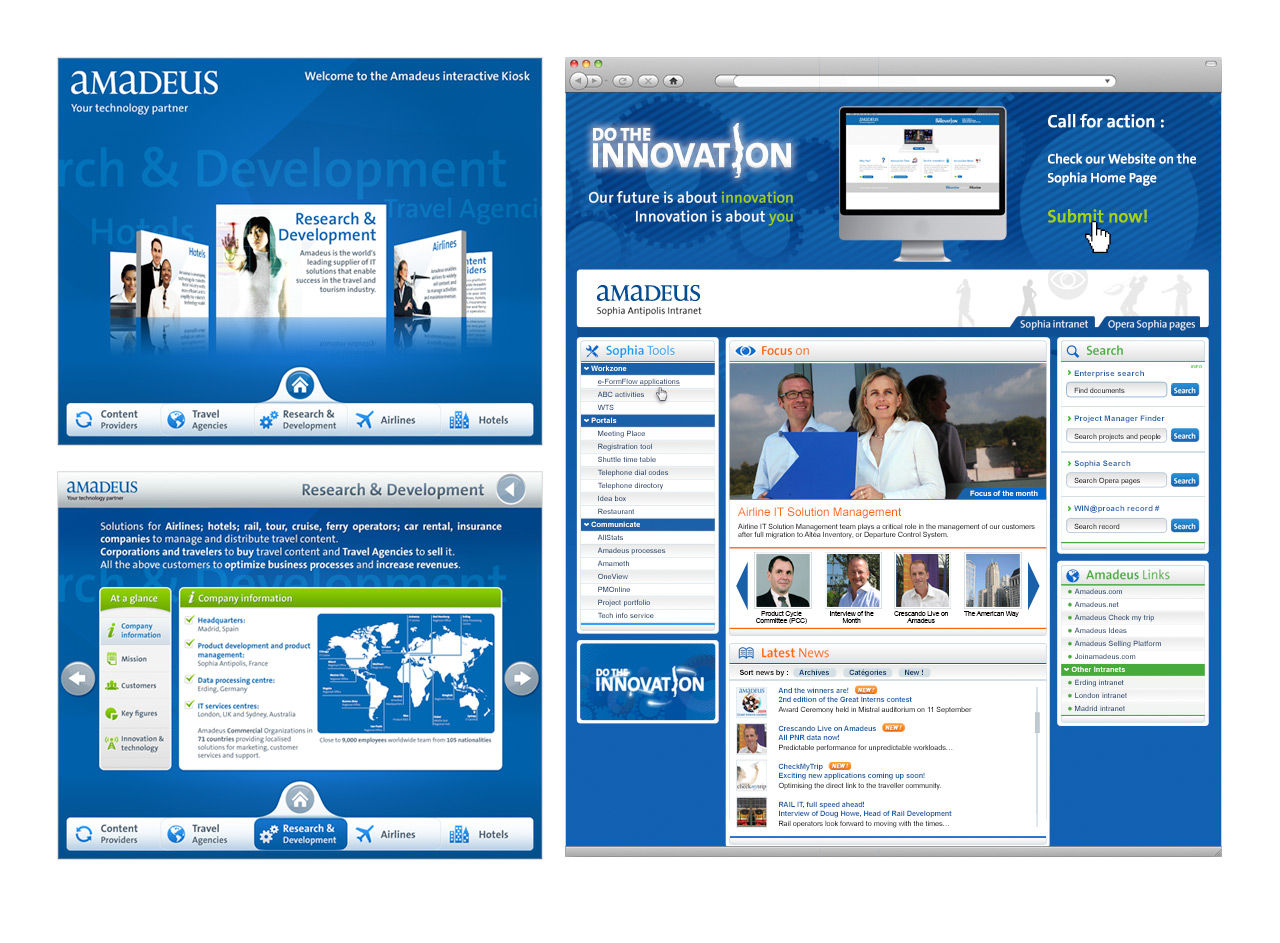 Amadeus : Borne tactile + Intranet