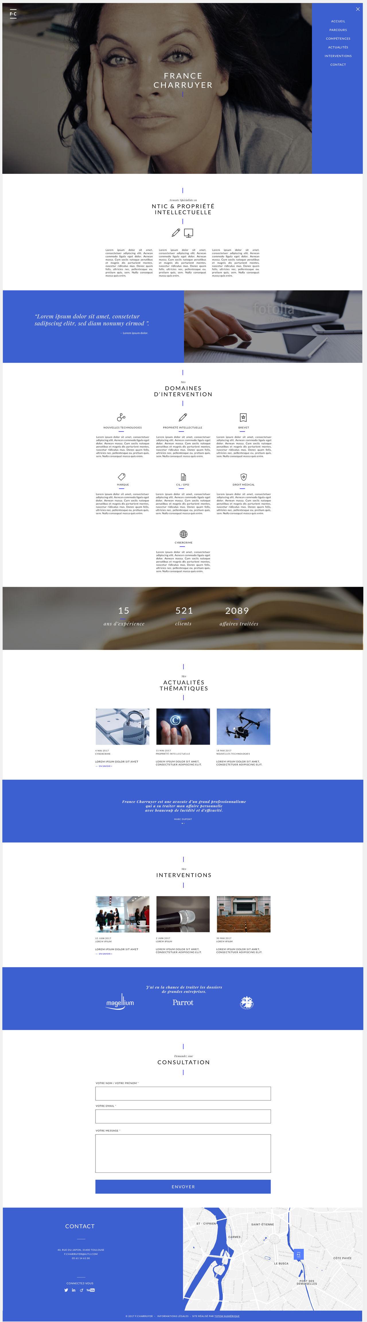 Interface de site web