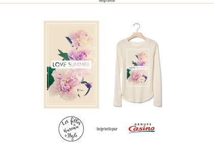 Floral & texte, design textile