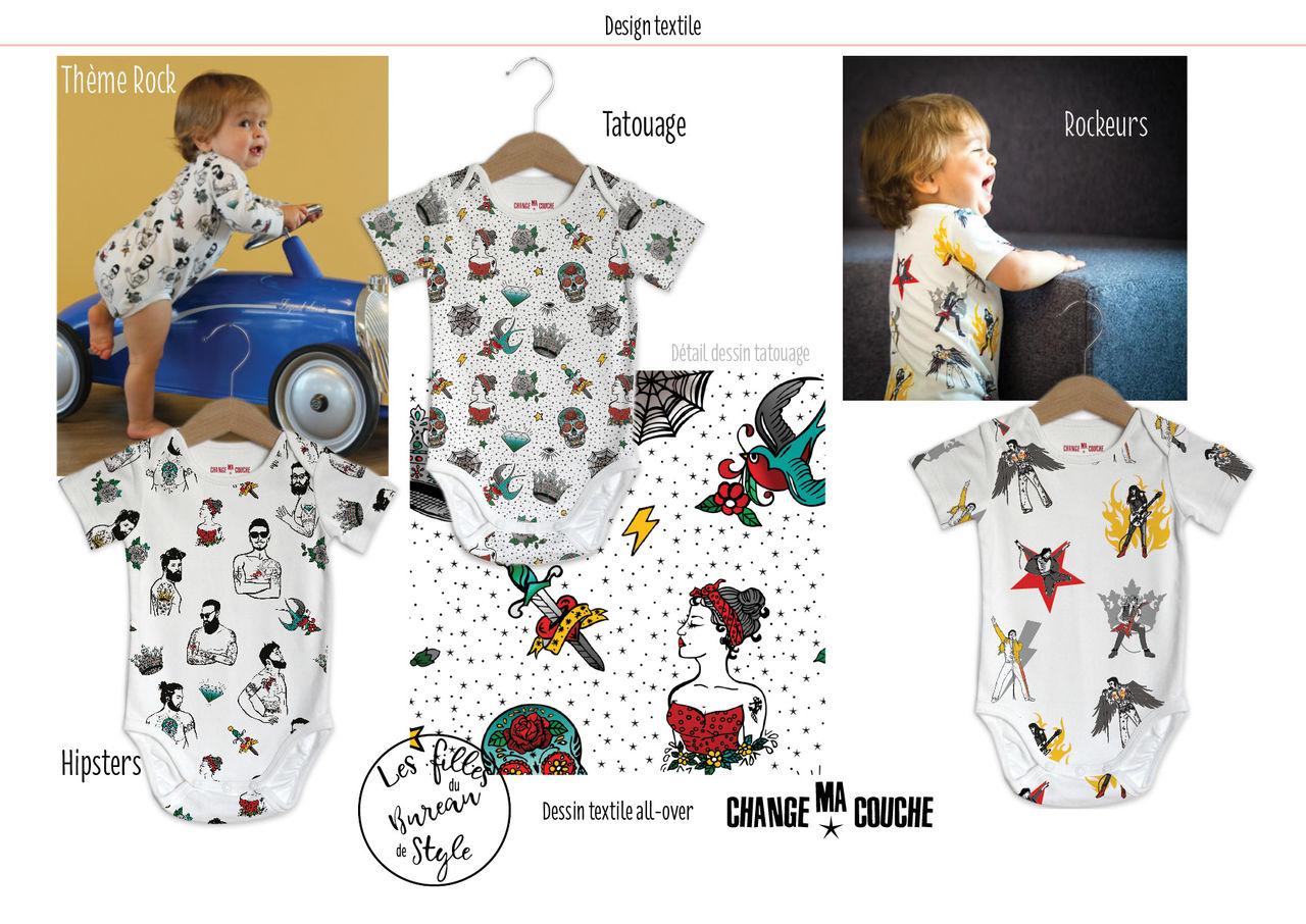 Dessin textile body bébé rock. Mode enfant.