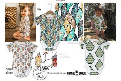 Dessin textile thème africa style, body bébé