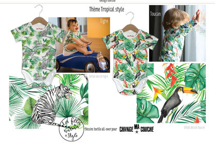 Dessins textile all-over, thème tropical style
