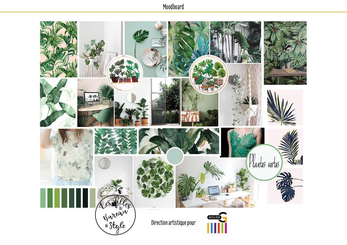 Mood board théme plantes vertes
