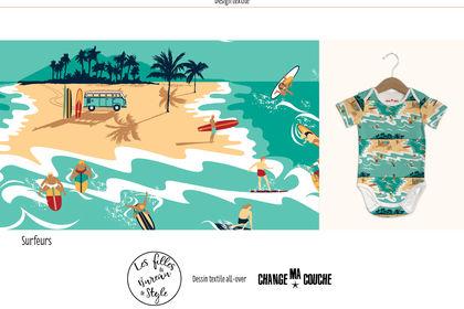 Surfeurs imprimé textile
