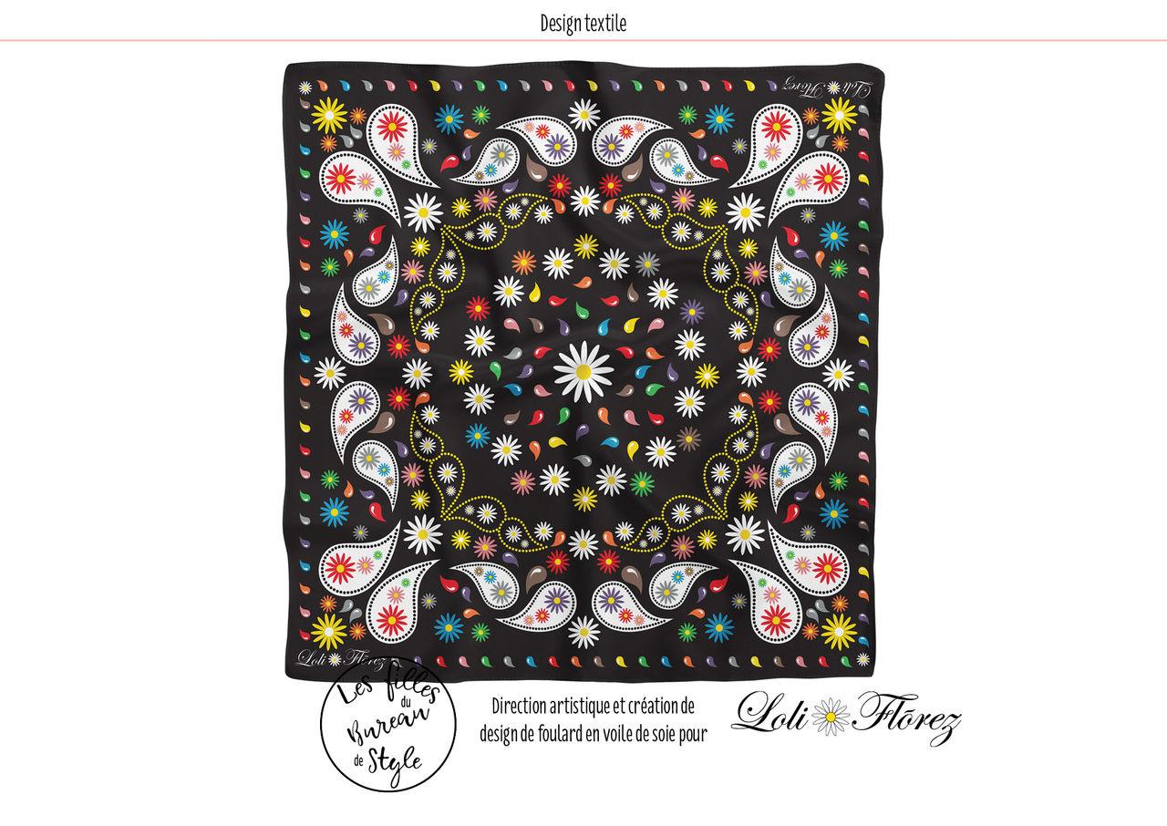 Mode. Foulard design textile pour Loli Flõrez.