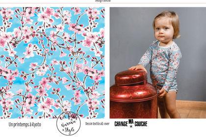 Design textile all-over Un printemps à Kyoto