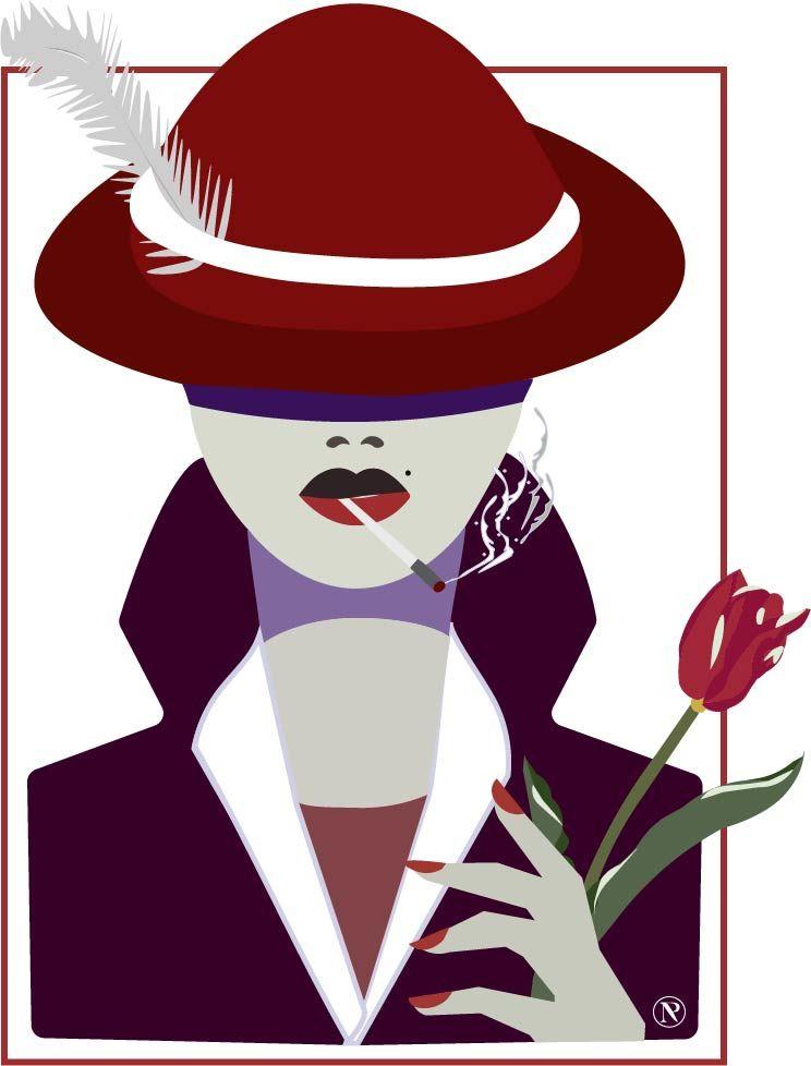 Femme à la tulipe et au chapeau rouge by NP
