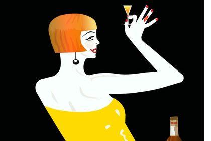 Femme au verre de vin (pub années 20 - Art déco)