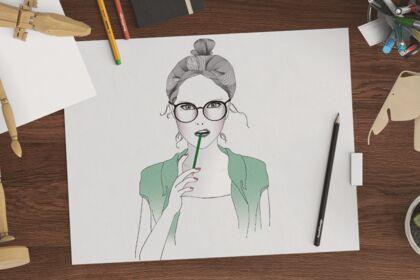Fille au crayon