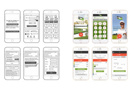 Maquettes mobile application Golf