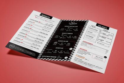 Charte graphique et menu d'un burger